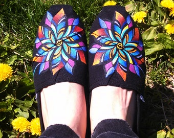 Hand Painted Shoes Custom TOMS Colorful Flower Design Wearable Art Custom Kicks Floral Clothing Gift Ideas Rainbow Footwear Garden Fashion