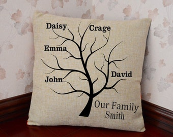Family Tree Pillow Cover,Personalized Pillow,Gift for Grandmother,Grandkids Pillow,Family Tree,Decorative Throw Pillows,Wedding Gifts#468838