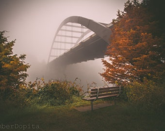 360 Bridge/ Pennybacker Bridge in Austin, Texas on a foggy morning Fine Art Photo Print