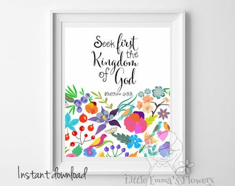 Nursery decor Seek first the Kingdom of God Matthew 6:33 Bible verse art nursery wall art home decor christian print INSTANT DOWNLOAD 31-3