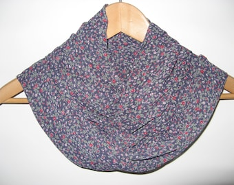 Navy Floral Infinity Scarf Wrap