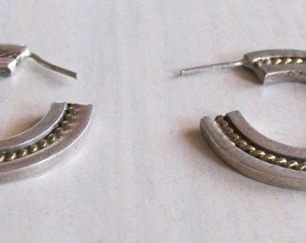 Sterling Silver and Brass Hoop Post  Earrings from Mexico