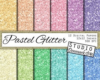 Pastel Glitter Digital Paper - Pale Colors Chunky Glitter - 12 Light Colors 12in x 12in - Instant Download Glitter Digital Paper