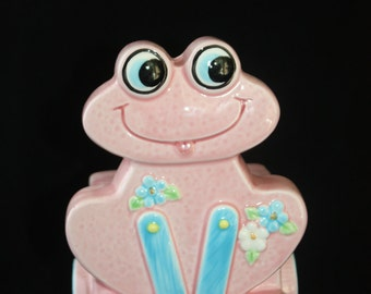Vintage Frog Piggy Bank Pink Blue Wheels Nursery Decor Made in Japan Ceramic
