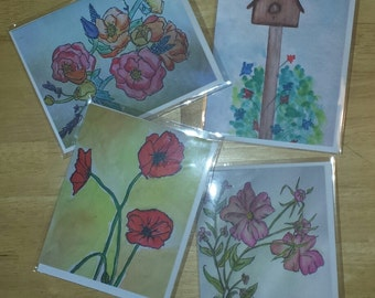 watercolor greeting note cards 4 pack