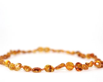 Baltic Amber beans teething necklace - Honey
