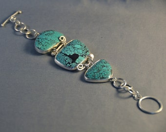 Three Stone Spiderweb Turquoise and Sterling Silver Bracelet