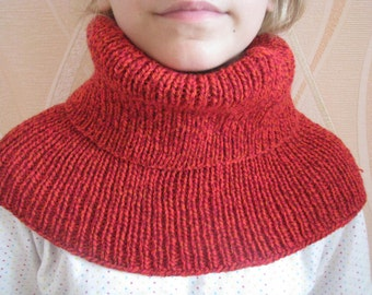 Tube Scarf, red Neck Warmer, Boho Clothing, Hand knitted Wool Cowl, Women's Winter Scarf, red Caplet, Shoulder Warmer, Mens winter scarf