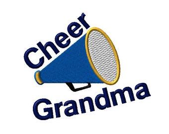 Cheer Grandma Megaphone Machine Embroidery Design - 2 sizes