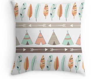 Mint & Coral Tribal Pillow Cover with Teepee and Feather Pattern, Nursery Pillow, Baby Nursery, Teepee Pillow