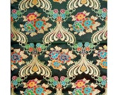 Dark Green Thick Brocade Flower Tibetan Textile, Tibetan Fabric, Upholstery Fabric