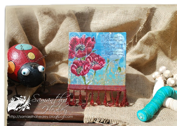 Mixed media mini canvas - 'Poppies'