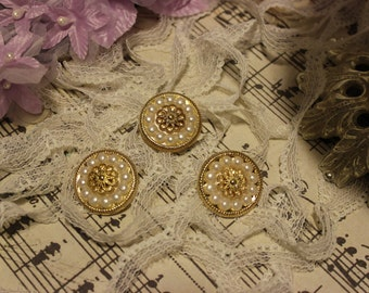 5 Decorative Gold Pearl Buttons ~Flower Centers
