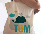 """Kids personalized tote bag - free your mind, whale on a cloud // 15.5""""x15"""""""