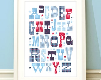 Nursery art boy, A-Z print, alphabet art, boys room art, childrens wall art, baby boy, nursery decor, boys bedroom, A-Z print