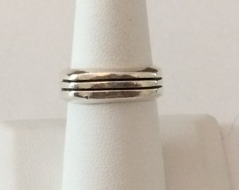 Size 8 Sterling Silver Chunky Square Ring