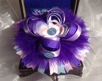 Purple and Pink Loopy Hair Bowtique Bow