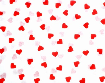 Red Hearts on White Tissue Paper #297 .... 10 large sheets - Valetine's Day, Love