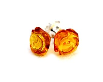 Flower Earrings - Rose Earrings - Rose Stud Earrings - Gift For Her - Baltic Amber Earrings - Honey Amber Earrings - Flower Jewelry -DO-157