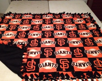 Checkered San Francisco Giants fleece, hand tied blanket..