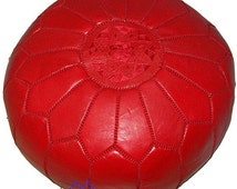 Red Moroccan Leather Pouf/Ottoman - Sold UN-STUFFED