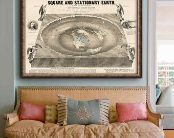 """World map 1893, Bizarre vintage map of the Square and Stationary World up to 48x36"""" (120x90 cm) Funny World map - Limited Edition of 100"""