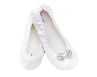Bridal Slippers Size 5-12 Satin Slippers, Great Dancing Shoes for the Reception White