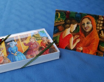 8 notecards. Oil paintings. Fairytale painting notecards. Blank inside. Notecards. Fairytale notecards. Beautifully packaged notecards.