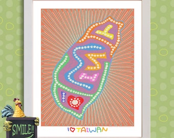 Whimsical Dot Art I Love Taiwan Print Cute Taiwan map adds Tiawanese theme to student room as 8x10 or 13x19 decorative map wall décor