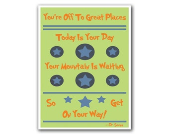 Dr. Seuss Art Your Mountain Is Waiting Quote Art (S23)