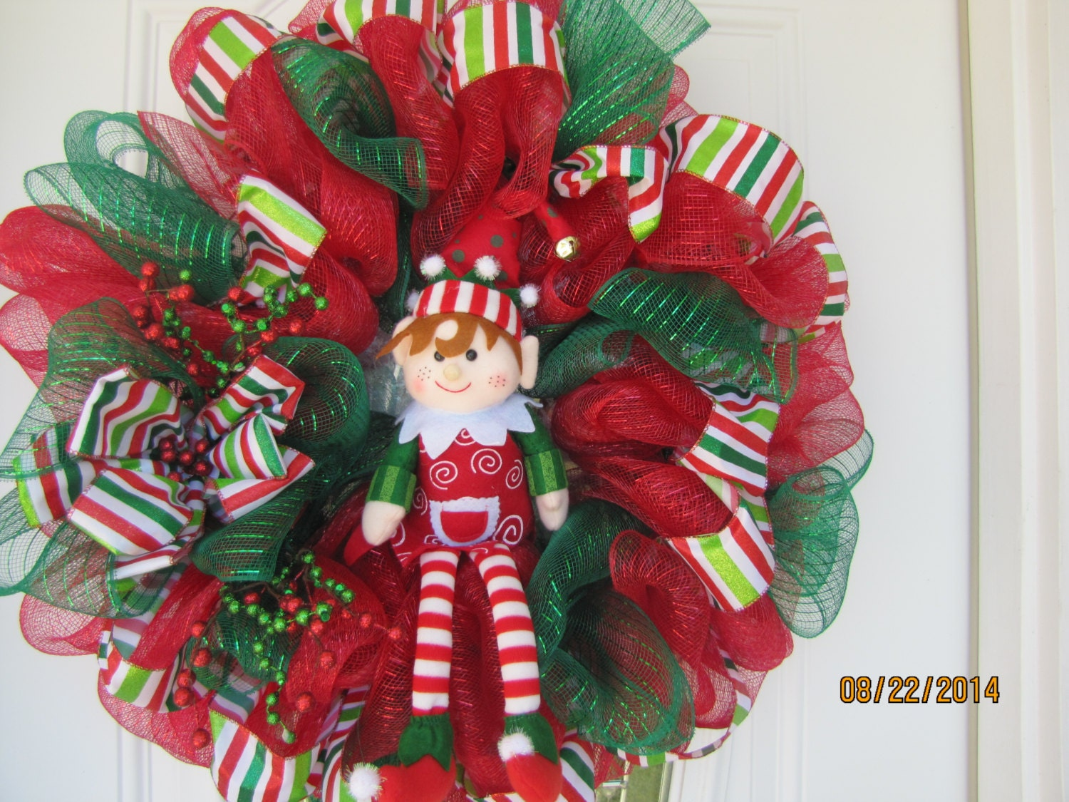 Christmas wreath- Elf Wreath- Santa's Helper wreath- Deco Mesh Christmas wreath