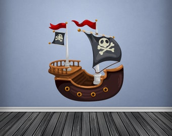 Full Colour Wall Decal Pirate Ship Wall Sticker Cartoon Pirateship Pirates Kids Bedroom