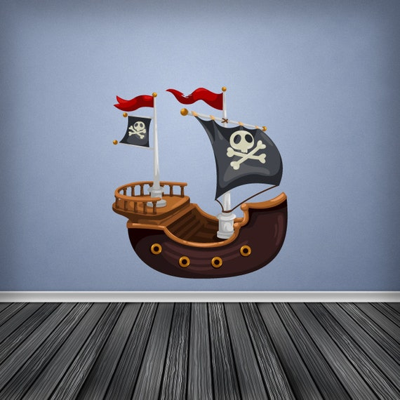 full colour wall decal pirate ship wall sticker cartoon. Black Bedroom Furniture Sets. Home Design Ideas