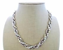 Trifari necklace, vintage choker, aurora borealis crystal necklace,  white trifanium necklace, american vintage costume jewelry, bijoux