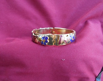 Vintage Goldtone Cloisonné Bracelet ~ Free shipping in the lower 48 states
