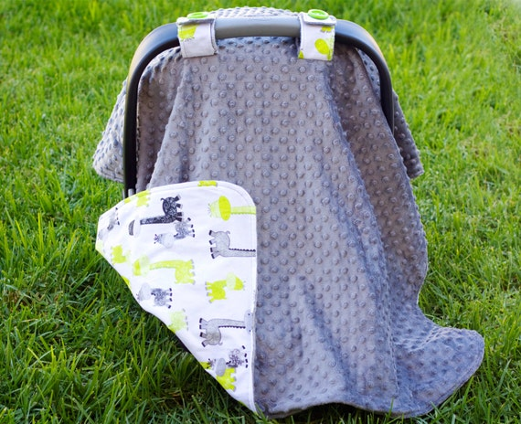 items similar to baby car seat cover for boy green and grey dinosaur print fabric grey minky. Black Bedroom Furniture Sets. Home Design Ideas