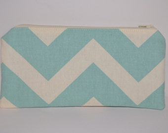 Cream and Teal Chevron Pencil Pouch