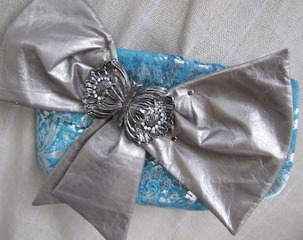 saleSILVER BOW. leather bag  . Leather cluth with bow. silver bow. Elegant bag. Boho, High Fashion, Haute Couture. art to wear