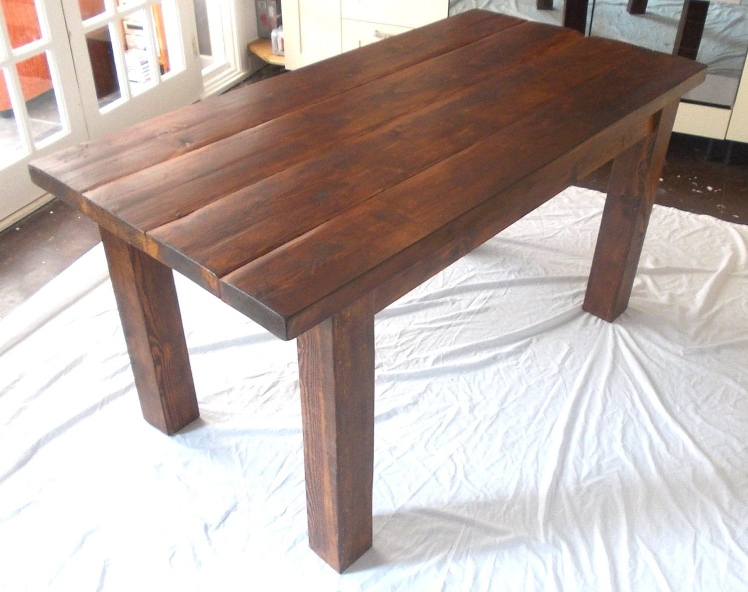 zoom. Rustic Solid Wood Plank Kitchen Dining Table stained in dark