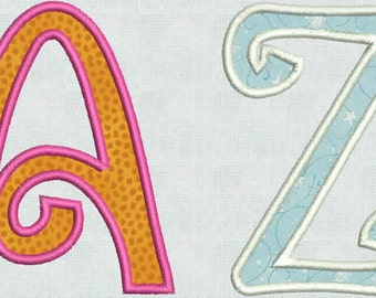 Instant Download Embroidery Machine Designs Curly Applique 4 x 4 hoop Numbers Font Monogram Alphabet Pes