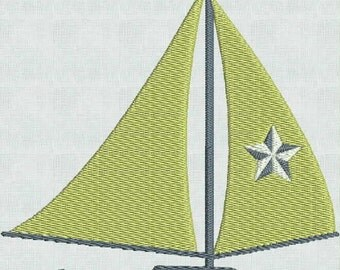 Embroidery Machine Designs Nautical Sailboat Designs PES format 3 Sizes