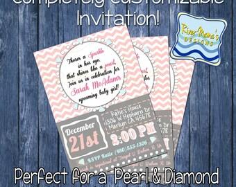 Printable Baby Shower Invitation Diamonds and Pearls