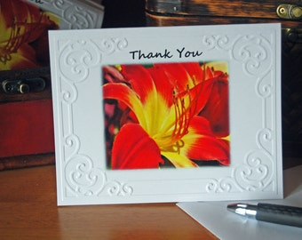 Thank You Orange and Yellow Lily Embssed Photo Cards and Envelopes