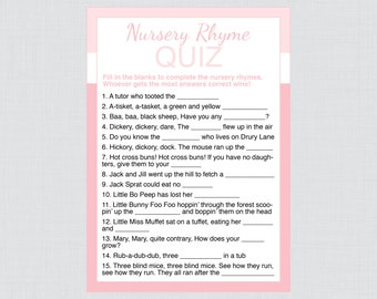 Nursery Rhyme Quiz Baby Shower Game in Pink - Printable Instant Download