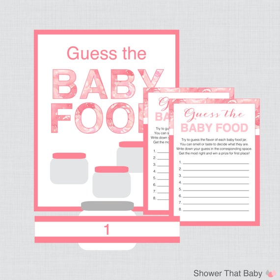 baby food jar label template - guess the baby food baby shower game activity by