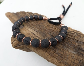 Lava Stone and Copper Bracelet, Stack Bracelet, Yoga Bracelet, Boho Bracelet, Men's Bracelet, Women's Bracelet, ColeTaylorDesigns