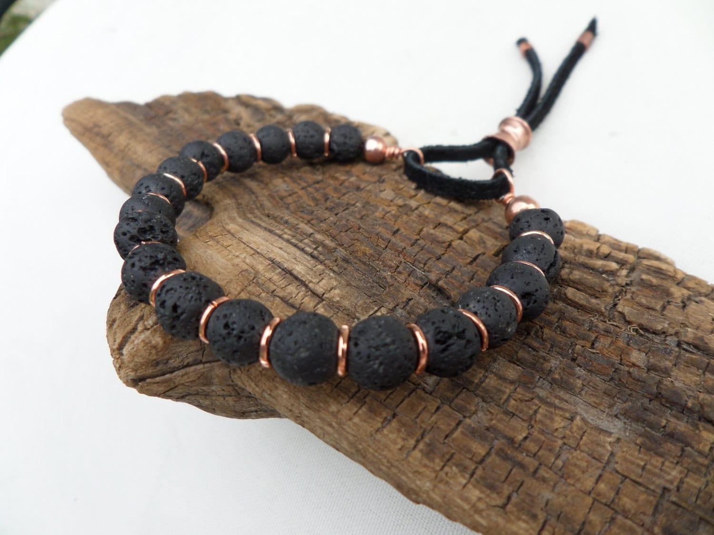 Lava Stone And Copper Bracelet Stack Bracelet Yoga Bracelet