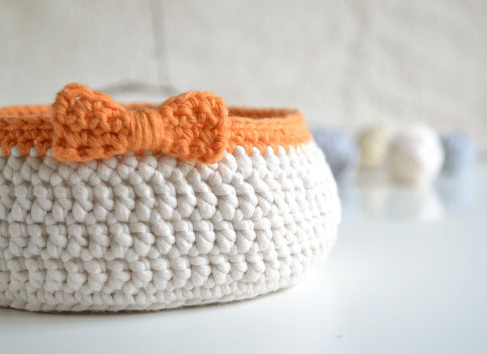 Crochet Basket – Round Basket – Cotton Basket – Trinket ...