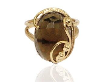 GOLD ring- 14k gold filled Smoky Quartz Ring, filigree ring, flower ring, gold jewelry