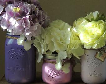 Lavender Distressed Mason Jars, rustic mason jars, assorted mason jar set, rustic wedding jars, country wedding, mason jar vase, wedding